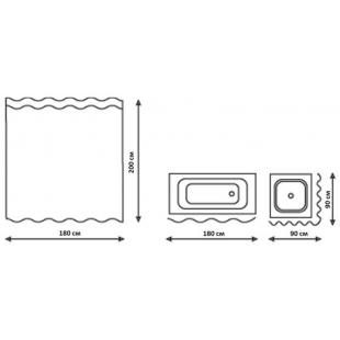 Шторка для ванной Qtap Tessoro 180*200, QTPA05115