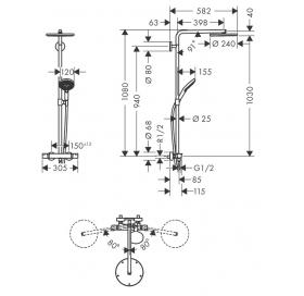 Душевая система с термостатом Hansgrohe Raindance Select S Showerpipe 240 1jet Brushed Black Chrome 27633340