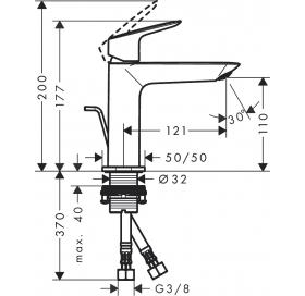 Смеситель для раковины Hansgrohe Logis CoolStart с донным клапаном pop-open Chrome 71254000