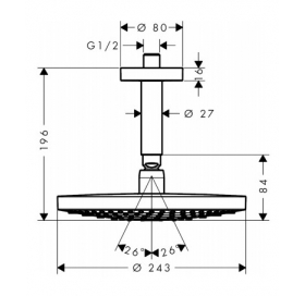 Верхний душ Hansgrohe Raindance Select S 240 2jetхром/белый 26467400