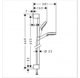 Душевой набор Hansgrohe Crometta Vario 65 см EcoSmart белый/хром 26534400