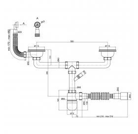 Сифон для двойной кухонной мойки Lidz (WHI) (LIDZWHI6008E00102)