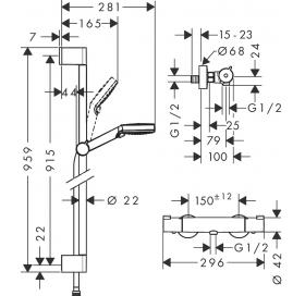 Душевой набор Hansgrohe Crometta Vario27813400с термостатом Ecostat 1001 CL и душевой штангой 90 см27813400