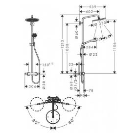 Душевая система с термостатом Hansgrohe Croma Select S Showerpipe 280 черный матовый 26890670