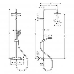 Душевая система с термостатом Hansgrohe Vernis Shape Showerpipe 230 1jet 26286670 черный матовый
