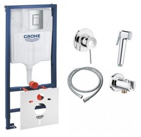 Комплект Grohe инсталляция Rapid SL 38772001 + набор для гигиенического душа со смесителем BauClassic 111048