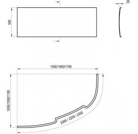 Панель для ванны Ravak ASYMMETRIC 150 L с креплением CZ44100000
