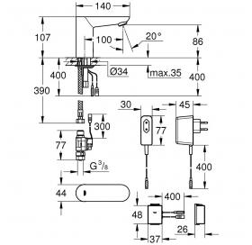 Сенсорный смеситель Grohe Euroeco Cosmopolitan E Bluetooth 36409000