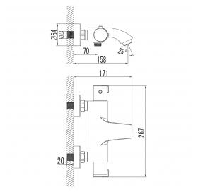 Термостат для ванны IMPRESE CENTRUM, 10400
