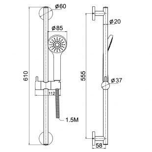 Душевой набор IMPRESE, с 1 типом струи, 6008501