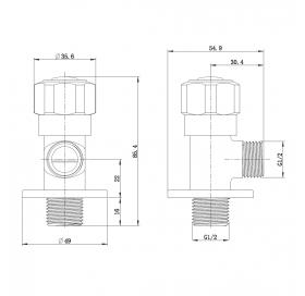 Угловой вентиль четверть оборота G1/2-G1/2, AV02