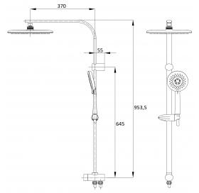 Система душевая без смесителя Impresse, с 3 типами струи, T-15082