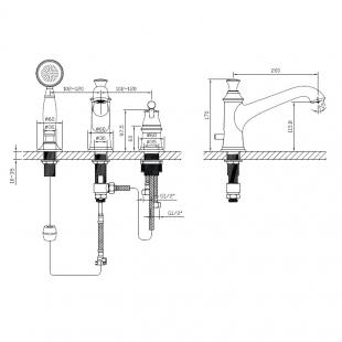Смеситель для ванны врезной на три отверстия IMPRESEPODZIMA PODZIMA ZRALA, ZMK02170805
