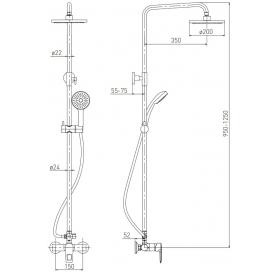 Душевая система VOLLE BENITA (смеситель для душа, верхний и ручной душ 1 режим, шланг полимер 1,5м),