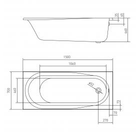 Ванна акриловая VOLLE AIVA 1500*700*440мм без ножек TS-1576844