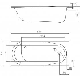 Ванна акриловая VOLLE AIVA 1700*700*440мм без ножек TS-1776844