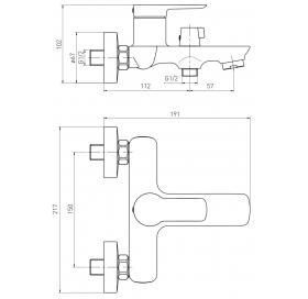 Смеситель для ванны VOLLE LIBRA хром 35 мм, 15202100
