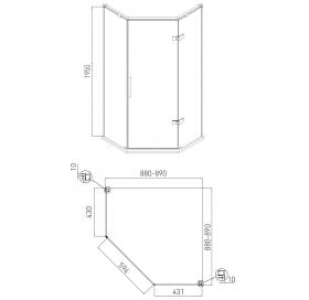 Пятиугольная душевая кабина без поддона 120*80 см распашные двери Volle Nemo 10-22-170Rglass правая