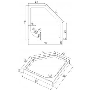 Поддон акриловый мелкий пяти угольный Volle NEMO 900*900*160 мм 10-22-170tray