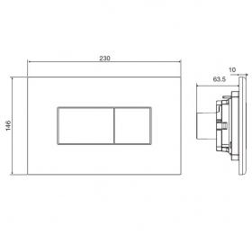 Кнопка смыва VOLLE NEO PCH пластик, глянцевый хром 221515