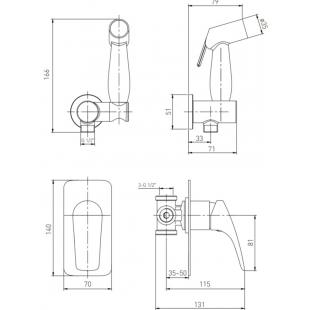 Смеситель скрытого монтажа + гигиенический  душ VOLLE ORLANDO, 15195200