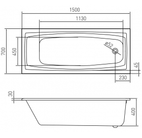 Ванна акриловая VOLLE SOLAR 1500*700*400мм без ножек TS-1579340