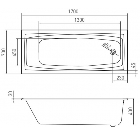 Ванна акриловая VOLLE SOLAR 1700*700*400мм без ножек TS-1779340